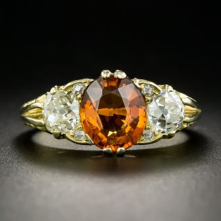 Victorian-Style Spessartine Garnet and Diamond Three-Stone Ring - 2