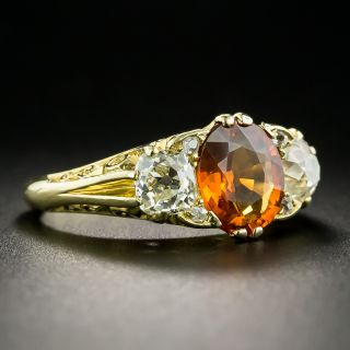 Victorian Style Spessartite Garnet and Diamond Three-Stone Ring