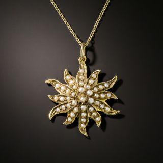 Victorian Sunburst Seed Pearl Pendant - 3
