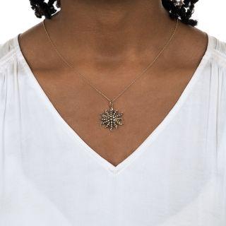 Sunburst Seed Pearl Pendant -- 1900s