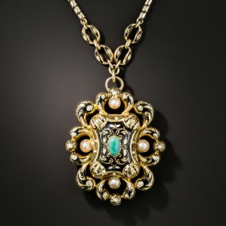 Victorian Swiss Enamel, Turquoise and Pearl Necklace - 3