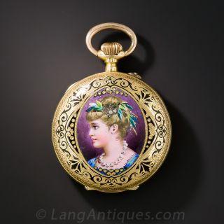 Victorian Swiss Enameled Pendant Watch