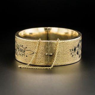 Victorian Taille d'Epargne Enamel Bangle Bracelet
