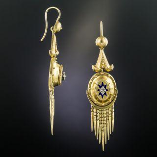 Victorian Tassel Earrings with Diamonds and Enamel