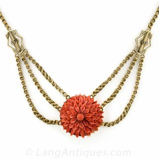 Victorian Triple Chain and Coral Flower Necklace