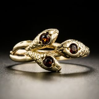 Victorian Triple Head Garnet Snake Ring  - 2