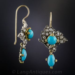 Victorian Turquoise and Diamond Earrings