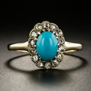 Victorian Turquoise and Diamond Ring by L. Kaufman - 2