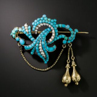 Victorian Turquoise and Pearl Brooch  - 2