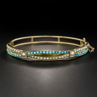 Victorian Turquoise and Seed Pearl Bangle Bracelet - 1
