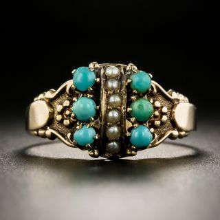 Victorian Turquoise and Seed Pearl Ring - 2
