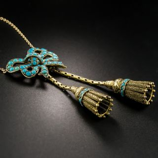Victorian Turquoise Bow Tassel Necklace