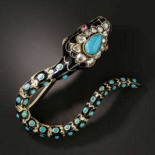 Victorian Turquoise, Diamond and Enamel Snake Brooch