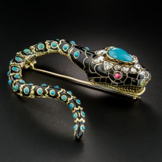 Victorian Turquoise, Diamond and Enamel Snake Brooch  - 4