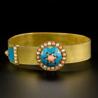 Victorian Turquoise, Enamel, Coral, and Natural Pearl Mesh Slide Bracelet - 2
