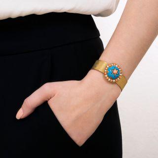 Victorian Turquoise, Enamel, Coral, and Natural Pearl Mesh Slide Bracelet