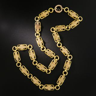 Victorian Two-Tone Gold Fancy Link Chain