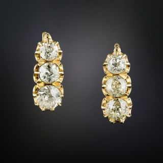 Victorian Diamond Hoop Earrings - 3
