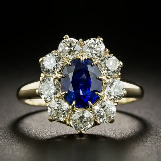 Vintage 1.59 Carat Ceylon Sapphire and Diamond Halo Ring - 3