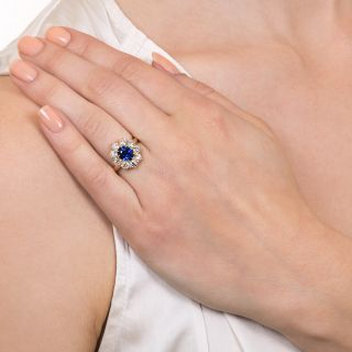 Vintage 1.59 Carat Ceylon Sapphire and Diamond Halo Ring