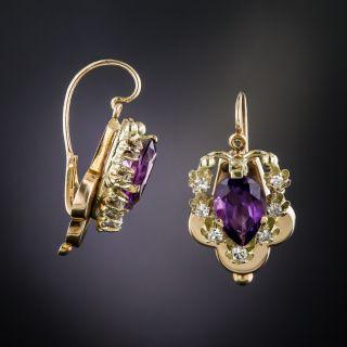 Vintage 14K Amethyst and Diamond Earrings