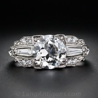 Vintage 2.11 Carat Diamond Platinum Engagement Ring - GIA H VS1 - 1