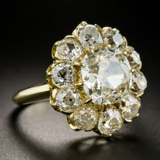 Vintage 2.47 Carat Antique Cushion-Cut Diamond Cluster Ring - GIA J VS1