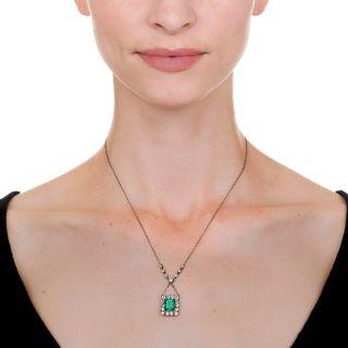 Vintage 2.97 Carat Emerald and Diamond Pendant Necklace