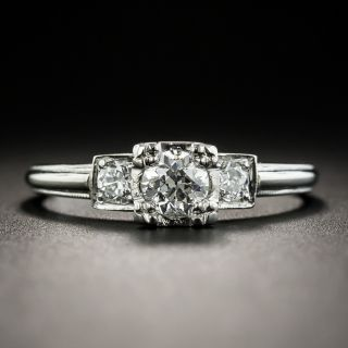 Vintage .38 Carat Diamond Platinum Engagement Ring - 1