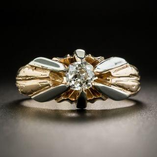 Art Deco Two Tone .72 Carat Diamond Unisex Ring - 2