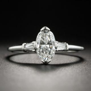 Vintage .78 Carat 'Moval' Diamond Platinum Engagement Ring  - 1