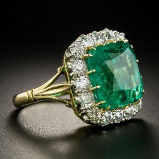 Vintage 8.60 Carat Emerald and Diamond Ring