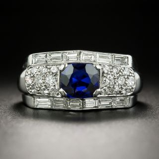Vintage .90 Carat Cushion-Cut Sapphire and Diamond Ring - 2