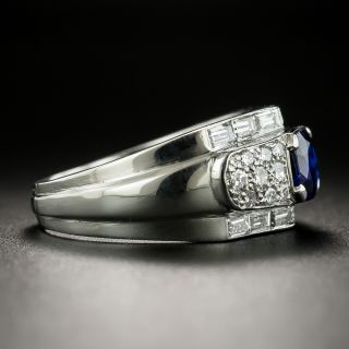 Vintage .90 Carat Cushion-Cut Sapphire and Diamond Ring
