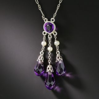 Art Deco Amethyst and Seed Pearl Drop Necklace - 1