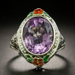 Vintage Amethyst Enamel and Seed Pearl Ring - 2