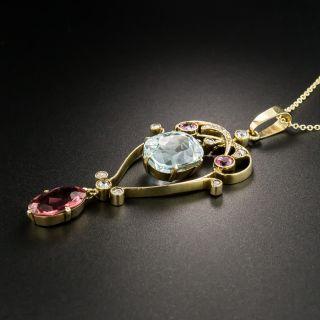 Vintage Aquamarine and Red Tourmaline Lavalière Necklace