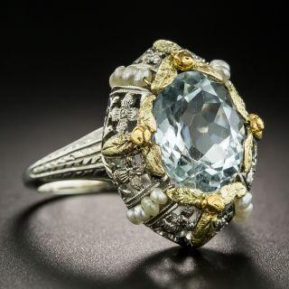 Vintage Aquamarine and Seed Pearl Ring