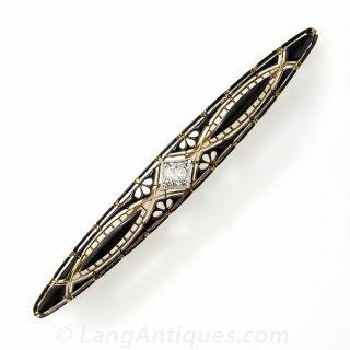 Vintage Black Enamel and Diamond Bar Pin by Krementz
