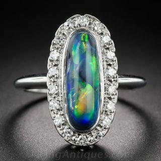 Vintage Black Opal and Diamond Halo Ring - 1