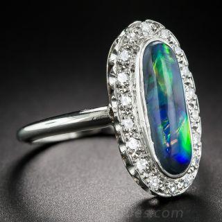 Vintage Black Opal and Diamond Halo Ring