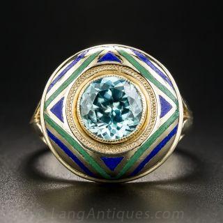 Vintage Blue Zircon and Enamel Ring