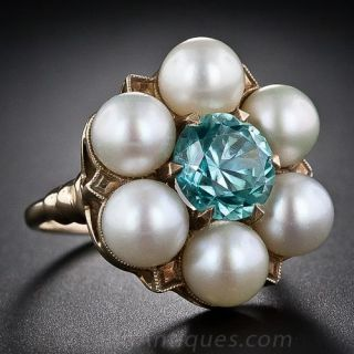Vintage Blue Zircon and Pearl Ring