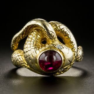 Vintage Cabochon No-Heat Burmese Ruby Snake Ring - 3