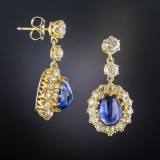 Victorian Style Cabochon Sapphire and Diamond Drop Earrings