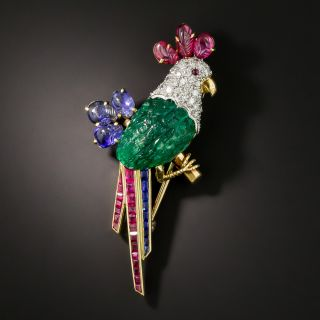 Vintage Carved Emerald Diamond Ruby Sapphire Parrot Pin - 2