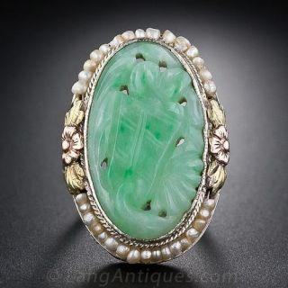 Vintage Carved Jade and Seed Pearl Ring