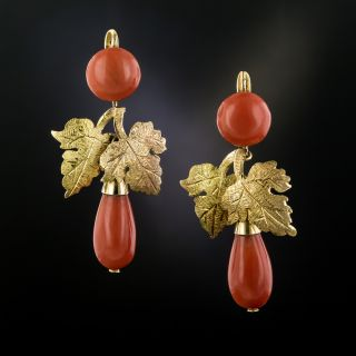 Vintage Coral Leaf Earrings - 3