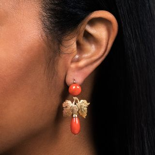 Vintage Coral Leaf Earrings
