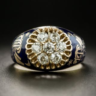 Vintage Diamond and Enamel Cluster Ring From Soviet Russia - 2